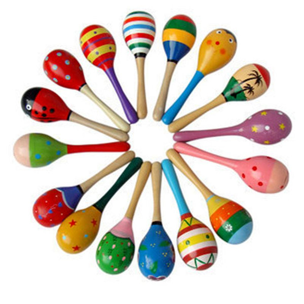Baby Wooden Ball Toys Baby Rattles Sand Hammer Musical Toy Instrument Sound Maker Baby Attetion Training Toy Random Color