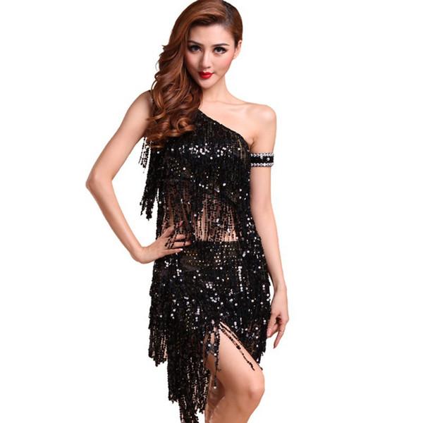 Lady Dance Dress Sequins Costume Tango Latin Salsa Dresses