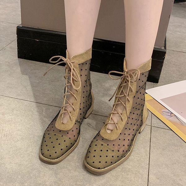 Femmes Maille Polka Dot Croix Cravate Mi-Mollet Bottes Carré Dentelle Up Talons Mid Dames Botas 2019 Mode Nouvelle Automne Casual Chaussures