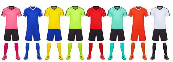 Homens em branco Fardas dupla face equipa de futebol kits Esportes roupas fatos de treino Personalidade personalizado Futebol Conjuntos Tops Shorts B37-26