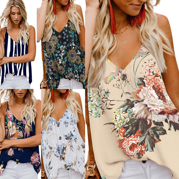 Women Summer Fashion Button Camis Top Strappy V Neck Slim Print Tank Sleeveless Casual Top
