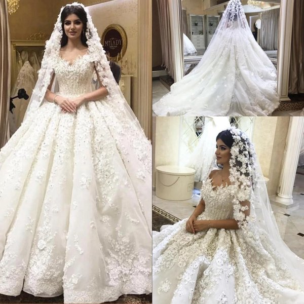 Emiraates Dubai Ball Gown Wedding Dresses Handmade Flowers 3 D