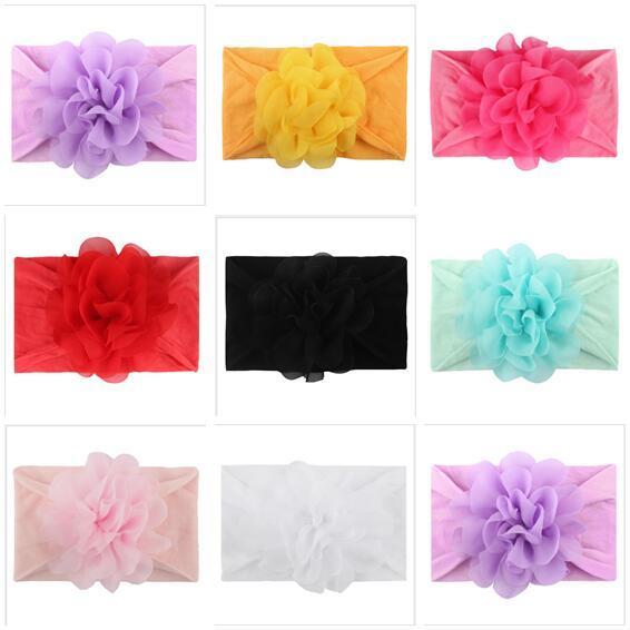 Chiffon Fiori Elastico Fascia Ragazze Designer 8 colori Bambino Hairbands Headwrap Accessori per capelli Bambini Ragazze Head Band Spedizione gratuita