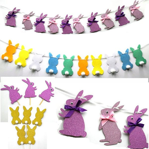 Yeni Paskalya Çekme Bayrak Çekme Çiçek Bunting Kart Dekorasyon Parti Akıllı Gözler Paskalya Tavşanı bayrağı Düzeni Paskalya Süslemeleri T2G5069