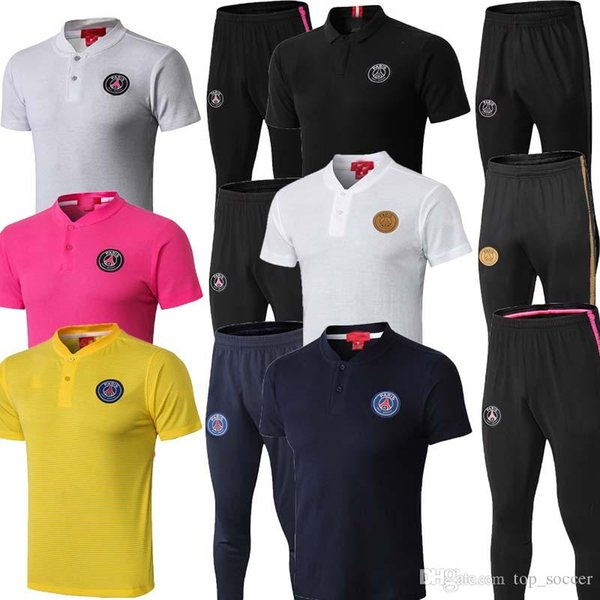 2019 2020 PSG Jordam Traje de Entrenamiento de manga corta chándal Mbappé CAVANI 2019 maillot de 20 pies de París pantalones uniforme Fútbol