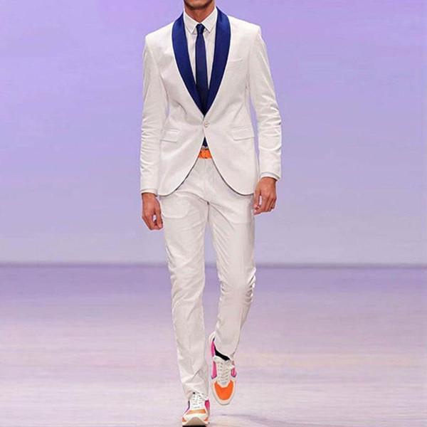 White Men Suit Royal Blue Shawl Lapel Jacket Pants 2Piece Men Wedding Suit Best Man Blazer Costume Homme Slim Fit Groom Tuxedo