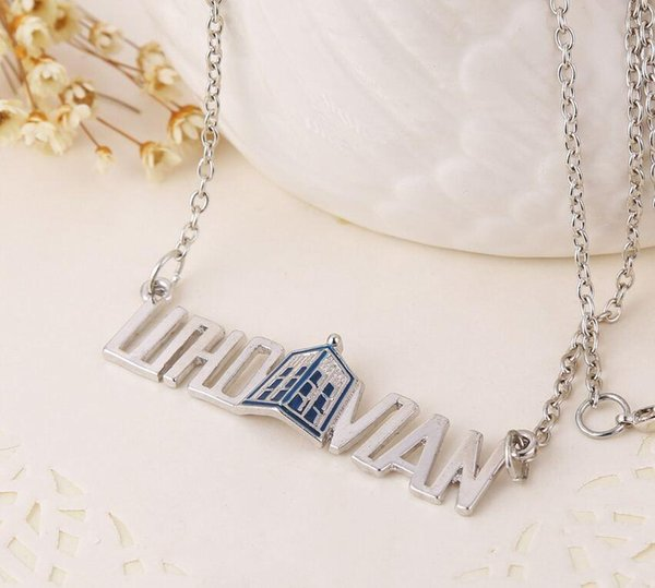 "Trendy America Television ""Doctor Who"" Letter Pendant Necklace Women Necklaces & Pendants Men Jewelry Body Chain Free Shipping"