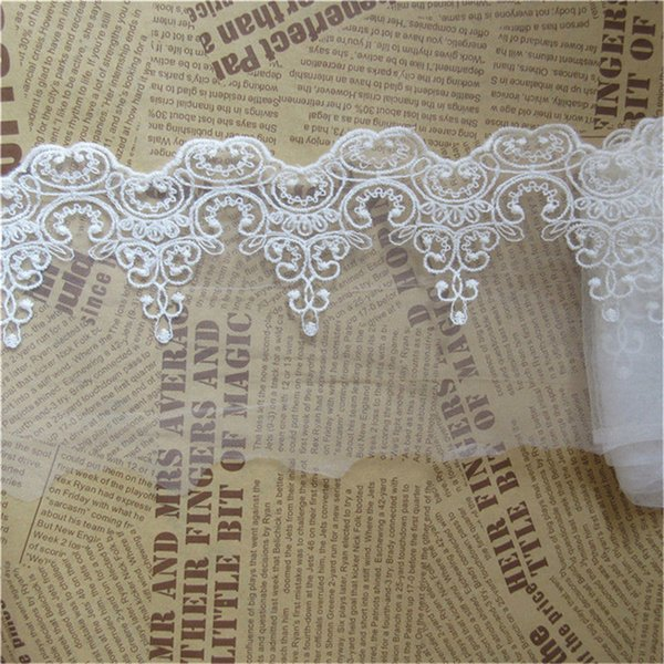 1 Yard Scallop Floral Tulle Mesh Lace Edge Trim Ribbon 8 cm Wide White Trimmings Fabric Embroidered Applique Sewing Craft Wedding Dress DIY