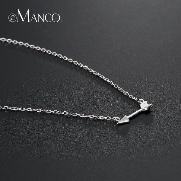 e-Manco Simple Arrow Pendant Necklace 925 Sterling Silver Choker Necklaces For Women Classic Gold Color Chain Necklace to Friend
