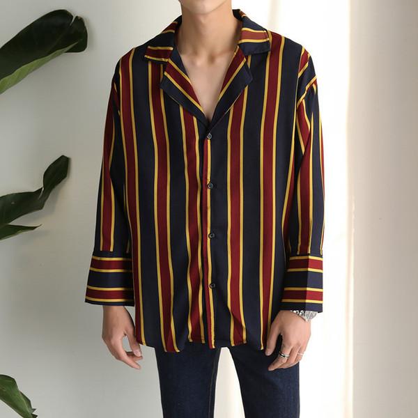 Versma 2017 Korean Harajuku Gd Chiffon Pajamas Striped Shirts Men Women Autumn Hip Hop Streetwear Casual Loose Couple Shirt Male J190416