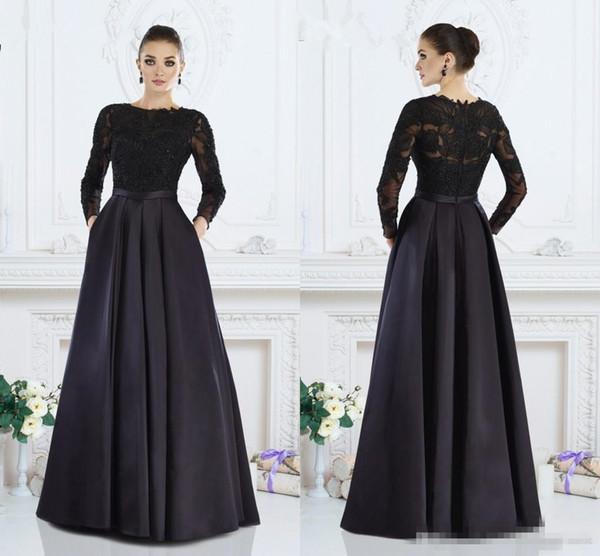 Robes de mère formelle Janique noir manches longues une ligne bijou dentelle mère de la mariée robes sur mesure femmes soirée Wear Z10