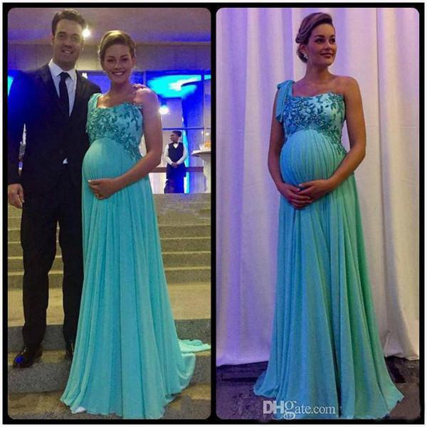 2019 Elegante Vestidos de Noite de Maternidade de Um Ombro Rendas Applique Zipper Voltar Vestidos De Novia Longo Varredura Chiffon Grávida Vestidos de Baile
