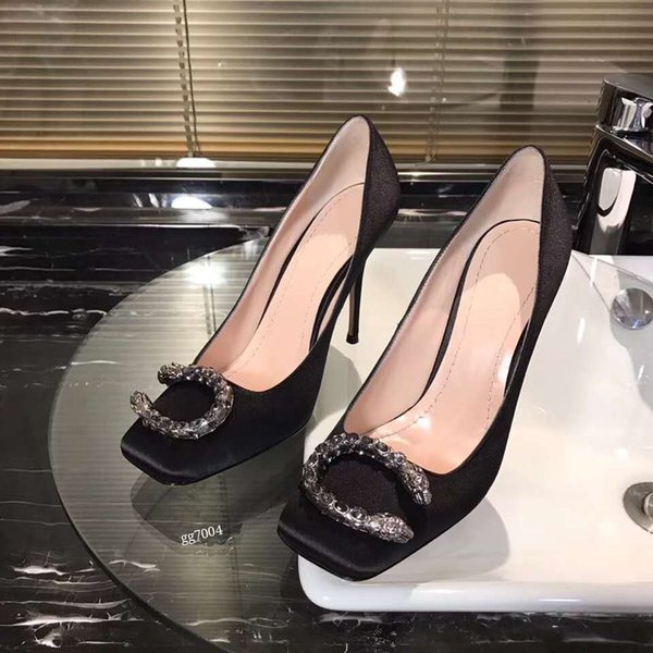 Women's shoes, new high-grade silk metal buckle square toe shoes, fashionable and elegant high heel shoes