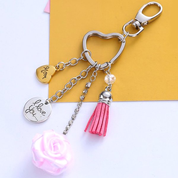 Charm Crystal Rose I Love You LED Light Glass Pendant Keychain Couple Gift