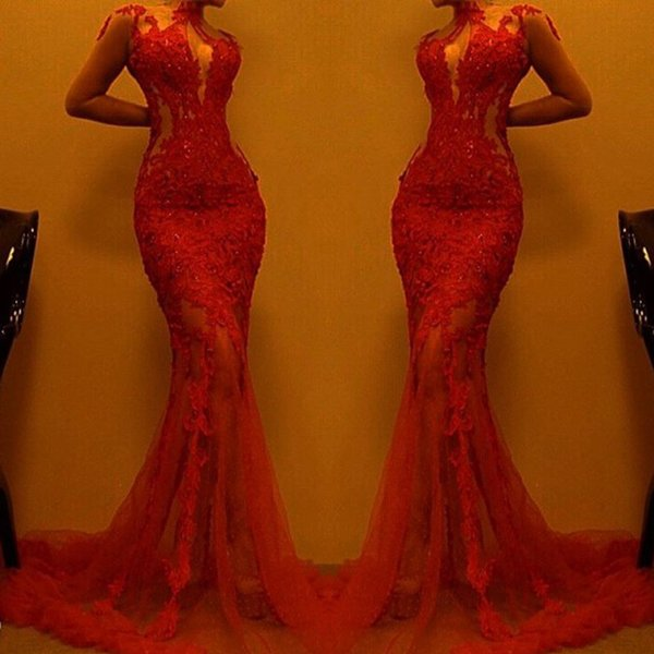 Vermelho Manga Longa Sereia Vestidos de Noite com Apliques de Renda Pescoço Sheer See-Through Prom Vestido Personalizado Elegante Do Tapete Vermelho vestido de Festa