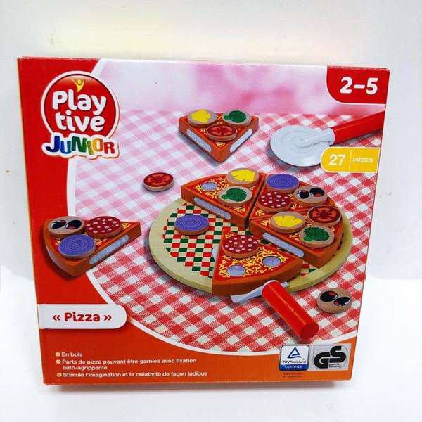 27pcs Montessori Ahşap Pizza Meyve Dilimleri Mutfak Pretend Çocuk Öğrenme Eğitim bulaşığı Çocuk Hediye Kesme İçin Oyuncak oyna