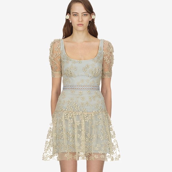 2019 2019 Summer Newest Embroidery Gold Net Women Mini Dress Light Blue Cute Dating Party Lace Dress From Clotheszone 6533 Dhgatecom