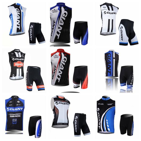 GIGANTE equipe Ciclismo Sem Mangas jersey Colete shorts conjuntos de Roupas Bicicleta Quick Dry Wearable respirável verão mens Equitação roupas Q62417