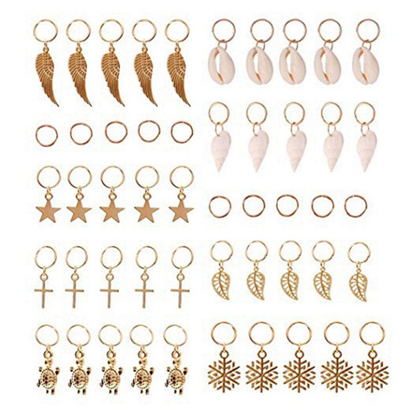 top popular Hair Braid Rings, 50Pcs Hair Loops Clips Gold Ring Shell Leaves Star Conch Snowflake Pendant Charms Set Clip Headband Acc 2021