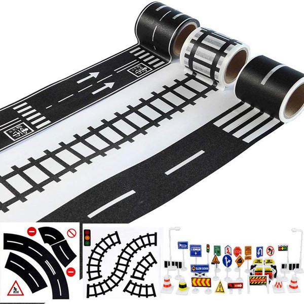 Juego de cintas de carretera para coches y trenes de juguete 3 rollos 4.8 cm x 5 m Curva recta Señales de tráfico - Regalos para niños