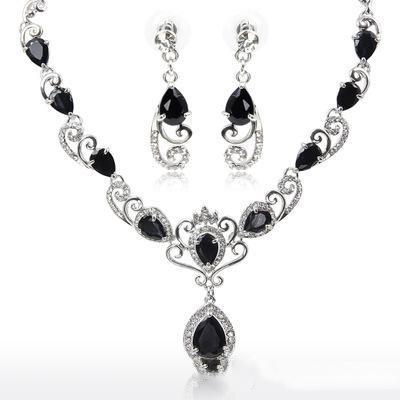 Wholesale Blue Black Crystal Statement Necklaces & Stud Earrings Set Chandelier Women Dangle Choker Wedding Jewelry Sets Wedding Decoration