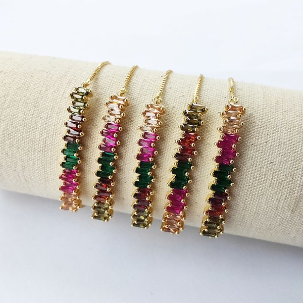 Rainbow cubic Zircon Curved Bar Connector Bracelets,Colorful CZ Stone micro pave jewelry bracelet for women girl gift BG284