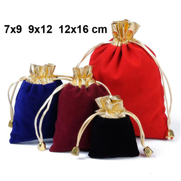 50pcs/lot 7x9, 9x12, 12x16 cm Gold Opening Bell Drawstring Velvet Pouches For Jewellery Jewelry Bags Christmas Gift Packing Bag