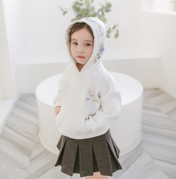 Moda niños sudadera niñas lindo conejo floral bordado jersey niños con capucha manga larga mono niños dibujos animados ropa F9306