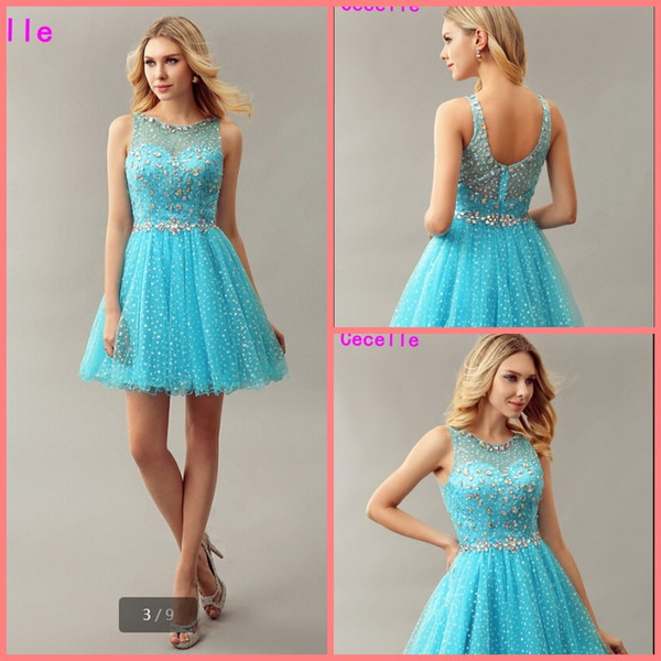 53ec0f679679e Bleu scintillant Une ligne courtes filles robes de bal de cocktail pour les  cristaux Juniors pure