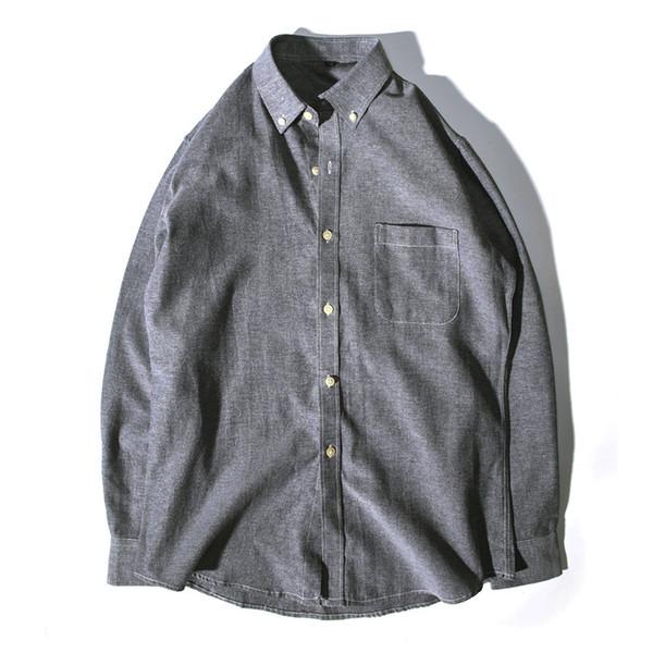 Primera marca para mujer para hombre camisas de manga larga de Calle de rotación de cuello del color sólido de negocios ocasional de la camisa de calidad superior de la nueva estación B101773V