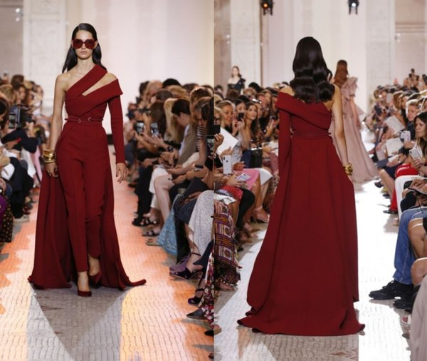 New Arrival Elie Saab Jumpsuit Burgundy Evening Dresses 2019 One Shoulder Long Sleeve Prom Dress Sash Party Gowns