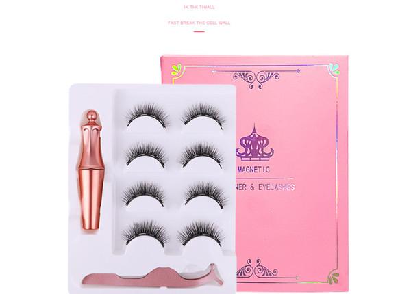 top popular New 4 pairs of magnet eyelashes with eyeliner tweezers set without glue 3d magnetic false eyelash 2020