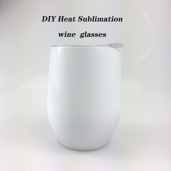 top popular DIY Sublimation Tumbler 12oz Wine tumbler Stainless Steel Wine Glasses Egg Cups Stemless Wine Glasses with Lid Free shipping 2021