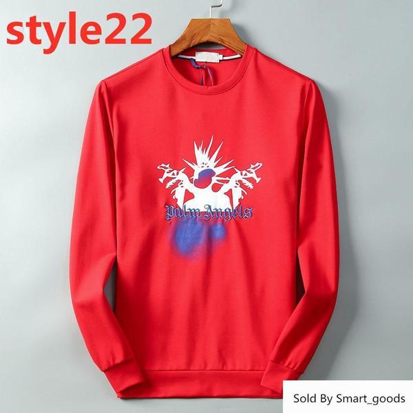 19ss Palm Angels Italienischer Markendesigner Herren Pullover Hoodie Tide Brand Gravierte Mode Schlank Wild Einfacher Druck Roter Pullover