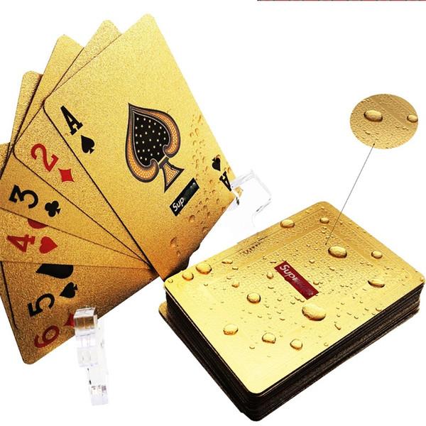 Carte da gioco Pure Gold Color Carte da gioco in plastica con Poker di impermeabilizzazione Poker con custodia trasparente 16lx E1