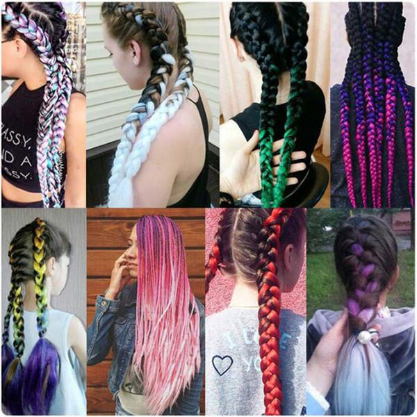 3 Tone Ombre Braiding Hair Kanekalon Jumbo Braids Fashion Synthetic Hair  Extension Synthetic Braiding Hair More Colors Bulk Human Hair Extensions ...