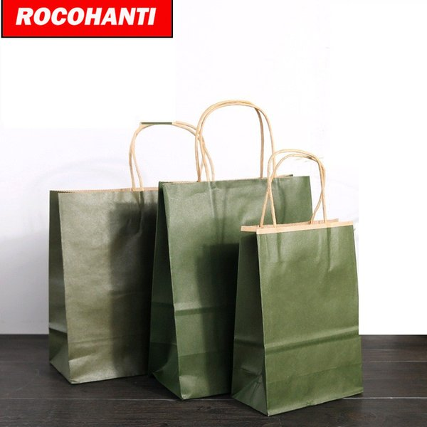 100X Recycled Custom Printed Kraft Paper Shopping Bags With Twisted Handles