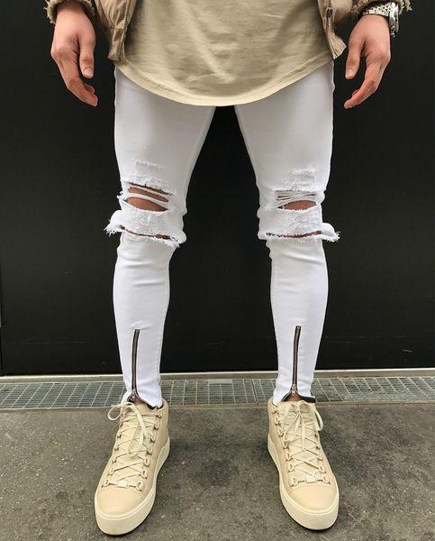 New Hole Patch Men Skinny Biker Jeans Nueva moda Hip Hop Style Ripped Elastic Zipper Denim Pants Motorcycle White Jeans