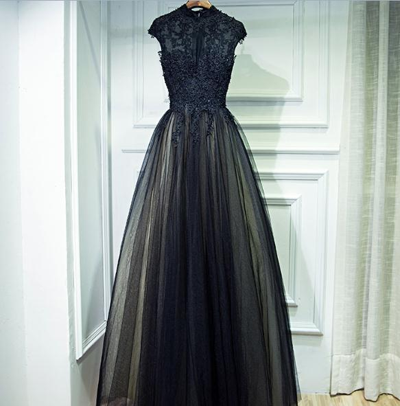 Black Evening Dresses Sheer High Neck Cap Sleeves Floor Length Lining Build-in Bra Long Formal Prom Party Gowns Custom Made