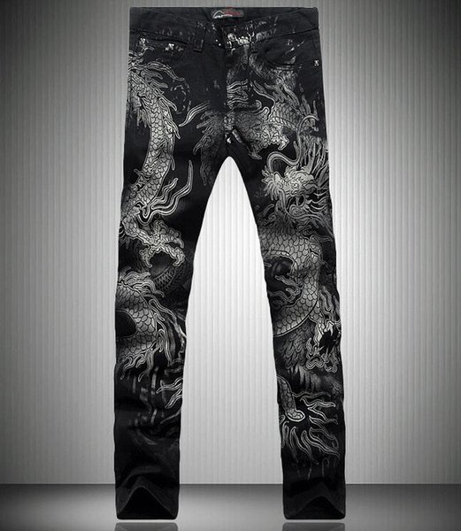 Men Chinese Dragon Print Pencil Jeans 2018 Autumn Fashion Male Slim Fit Denim Pants Night Club Skinny For Man Plus Size