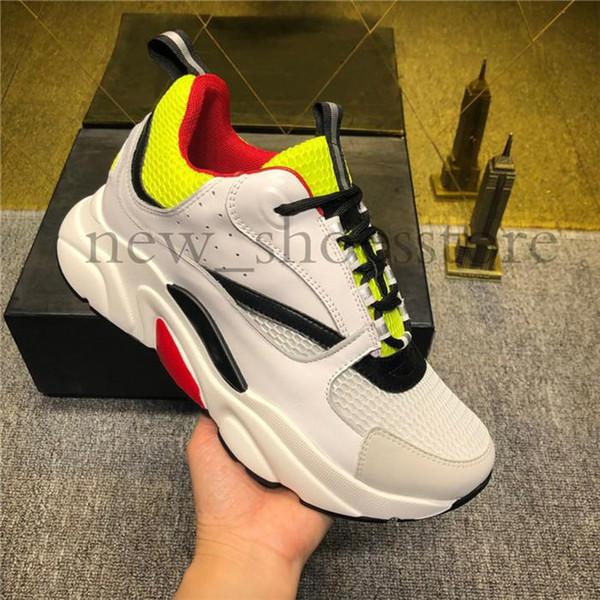 Diseñador de moda de lujo de los hombres de las mujeres zapatos de lona de la piel de becerro de calzado casual mujer del hombre la zapatilla de deporte de moda los colores mezclados los zapatos blancos de punto B22 Técnica B0