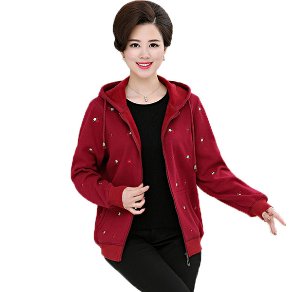 winter women casual embroidery fleece jackets woman red gray navy blue warm hooded coat mother thicken outerwear 40s 50s 60s 70s