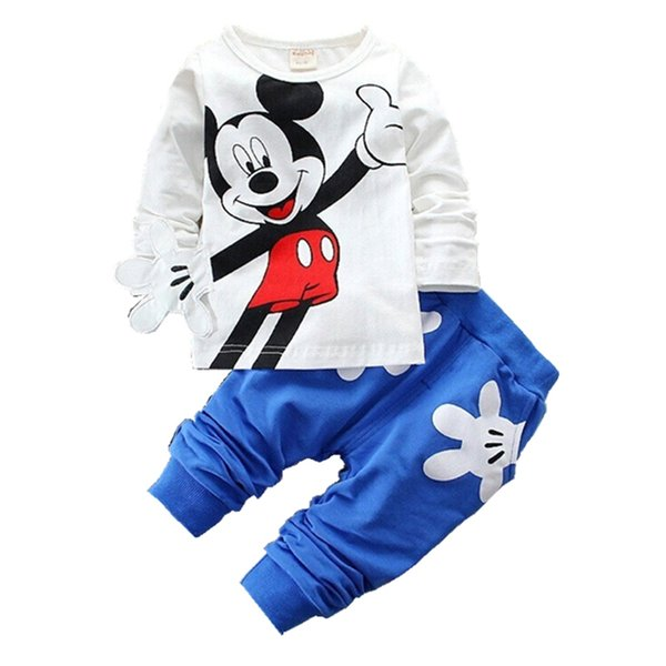 2019 Çocuk Kız Erkek Marka Giyim Seti Bebek Bahar Karakter Pamuk Uzun Kollu T Gömlek Pantolon Takım Çocuk Eşofman 0-4 yıl