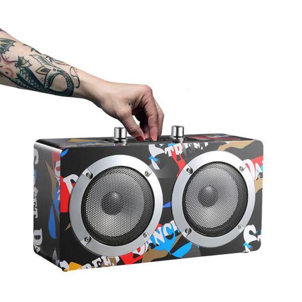 AICOO M20 граффити Деревянного Bluetooth Speaker Wireless Stereo Music Soundbox Surround Портативные акустическая поддержка TF AUX FM розничной упаковки