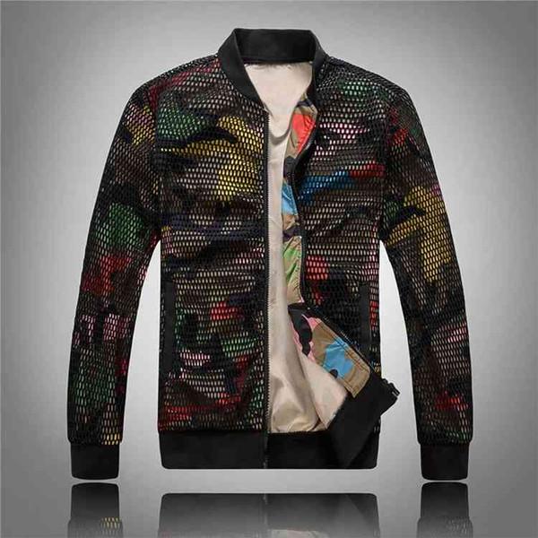 Хип-хоп куртки камуфляж пальто мужская одежда осень сетка полые топы пиджаки бейсбол одежда новая мода оптовая продажа 2019 5xl