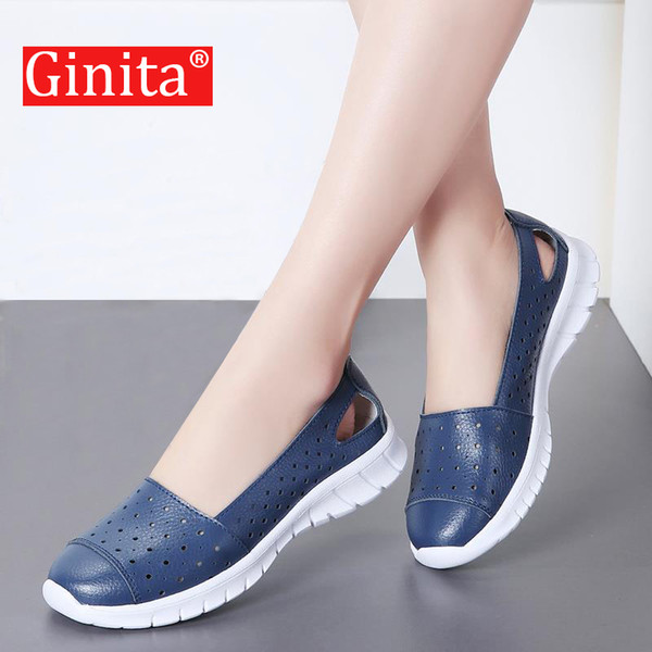 Ginita Summer Flat Shoes Women Plus Size 42 Genuine Leather Sneakers Hollow Hole Ladies Flats Boat Shoes Woman Zapatillas Mujer MX190816