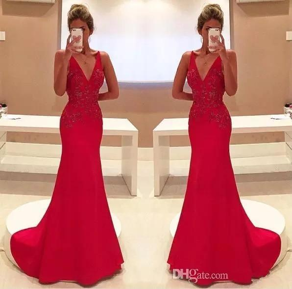 Gorgeous Red Mermaid Evening Dresses Sexy V Neck Appliques Long Party Prom Gowns Celerity Formal Wear Bridal Reception Dresses