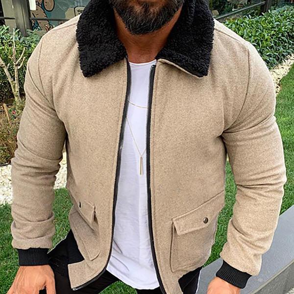 Tasarımcı Yaka Boyun Kış Ceket Erkek Moda Uzun Kollu Kalın Sıcak Palto Casual Katı Renkler Ceket