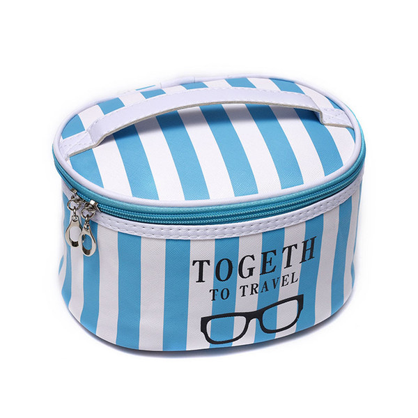 Professional Empty Makeup Organizer Round pink stripes Cosmetic Case Travel Large Capacity Lip Rose Pattern Storage Bag Suitcase