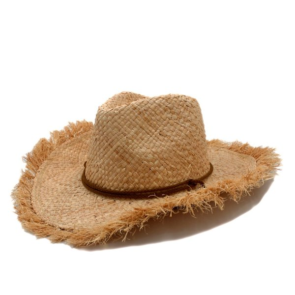 Fashion Men jazz hat Cowboys Straw Hats Best Mens Western Nature Raffia Straw Hat New Women Cowgirls roll-up Summer Sun Caps
